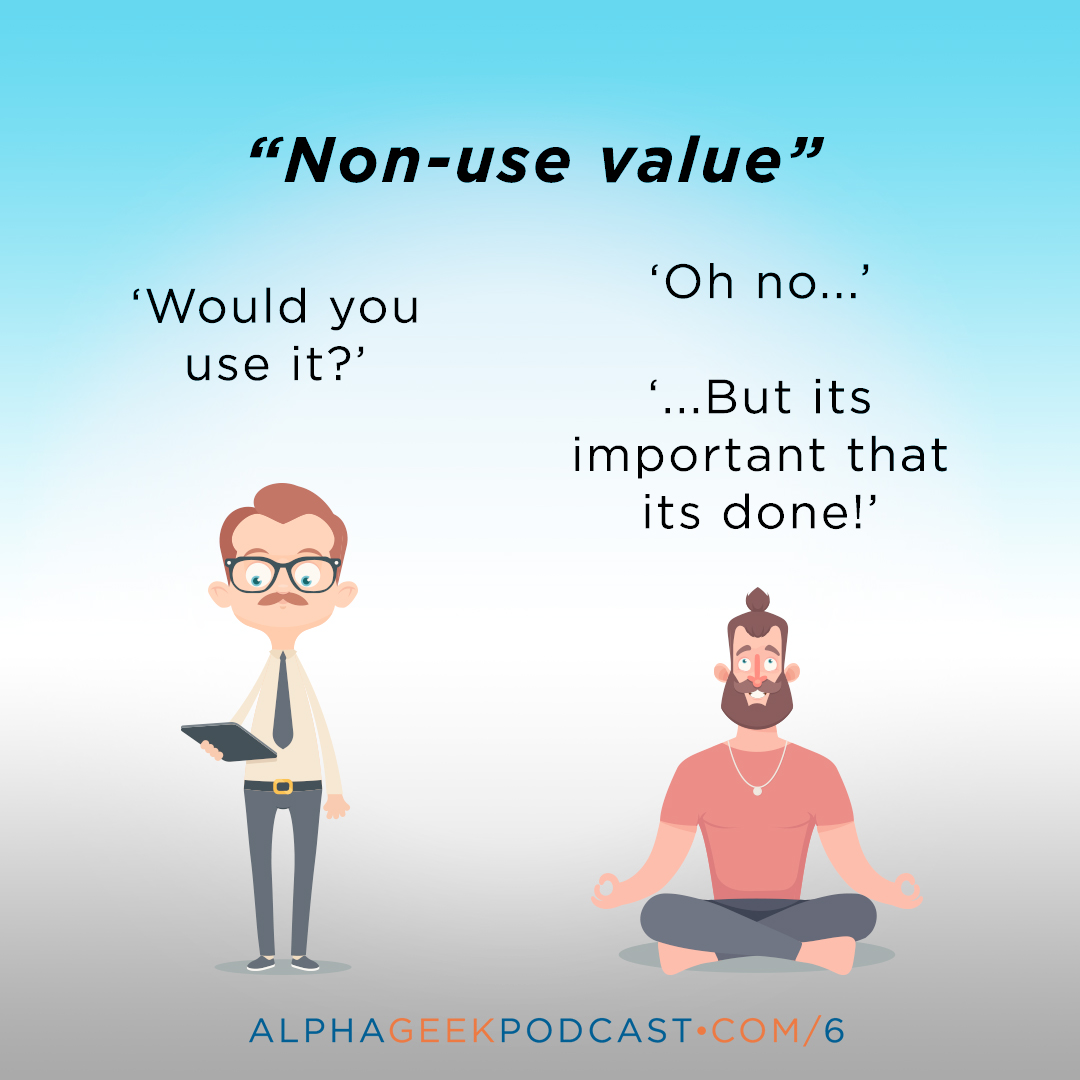 "'Non-use value: ""Would you use it?"". ""Oh no... But it's important that its done!""'"